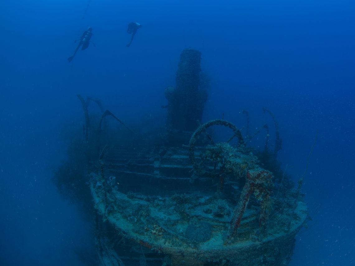 Two divers in Bikini Atoll wreck