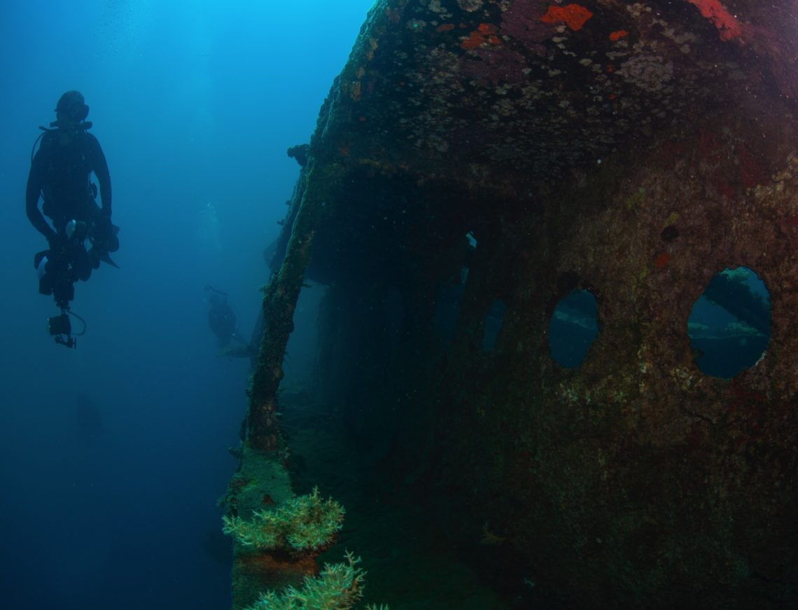 Diver off a wreck in the Marshall Islands - Bikini & Kwajalein